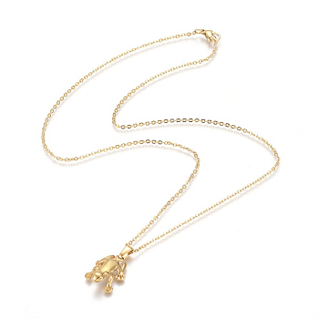 Golden 304 Stainless Steel Pendant Necklaces, with Cable Chains and Lobster Claw Clasps, Frog, Golden, 17.6 inches(44.8cm); 1.5mm