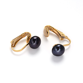 Midnight Blue Golden Tone 304 Stainless Steel Freshwater Pearl Clip-on Earrings, Midnight Blue, 16x4x16mm