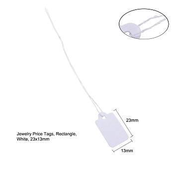 White White Rectangle Jewelry Price Tags, Item Price Label with String Price Paper Display for Goods Tags, Rectangle, White, 23x13mm