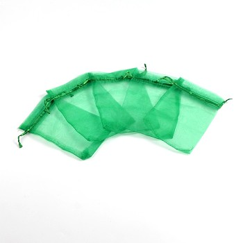Green Organza Bags, Rectangle, Green, about 10cm wide, 15cm long