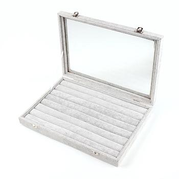 Gray Velvet and Wood Rings Display Boxes, with Glass, Rectangle, Gray, 24x35x4.5cm