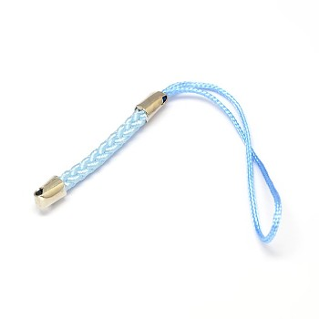 Light Sky Blue Nylon Cord Mobile Straps, with Iron Findings, Light Sky Blue, 85x4mm, Hole: 1.5mm