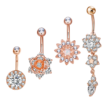 Rose Gold Brass Piercing Jewelry, Belly Rings, with Glass Rhinestone, Mixed Shapes, Rose Gold, 27~51mm; Pin: 10~14x1.5mm; 4pcs/set