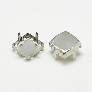 Stainless Steel Color 201 Stainless Steel Rhinestone Claw Settings, Square, Stainless Steel Color, Tray: 13x13mm; 15x15x8mm, Hole: 1mm