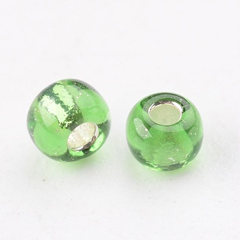 LimeGreen 8/0 Glass Seed Beads, Silver Lined Round Hole, Round, LimeGreen, 3mm, Hole: 1mm; about 10000 beads/pound