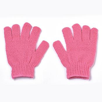 HotPink Nylon Scrub Gloves, Exfoliating Gloves, for Shower, Spa and Body Scrubs, Hot Pink, 185x150mm