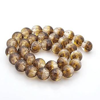 Coffee Handmade Two Tone Gold Sand Lampwork Round Beads Strands, Coffee, 12mm, Hole: 2mm; about 33pcs/strand, 15.7""