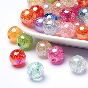 Mixed Color Bubblegum AB Color Transparent Crackle Acrylic Round Beads, Mixed Color, 10mm, Hole: 2mm; about 930/500g