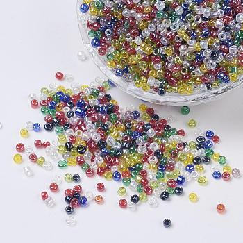 Mixed Color Glass Seed Beads, Trans. Colours Lustered, Round, Mixed Color, 4mm, Hole: 1.5mm; about 4500pcs/pound