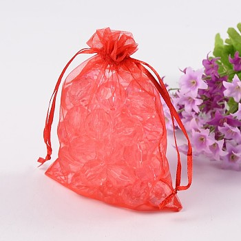 Red Organza Bags, Wedding Favour Bags, Mother's Day Bags, Rectangle, Red, about 10cm wide, 15cm long