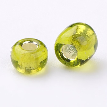 YellowGreen 6/0 Glass Seed Beads, Silver Lined Round Hole, Round, YellowGreen, 4mm, Hole: 1.5mm; about 4500 beads/pound