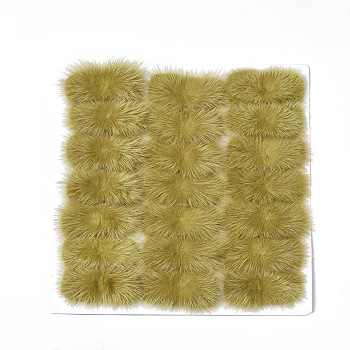 Dark Khaki Faux Mink Fur Rectangle Decoration, Pom Pom Ball, for DIY Bowknot Hair Accessories Craft, Dark Khaki, 8~8.5x3.7~4cm; about 21pcs/board