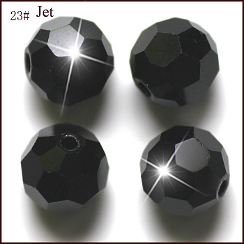 Black Imitation Austrian Crystal Beads, Grade AAA, Faceted, Round, Black, 4mm, Hole: 0.7~0.9mm
