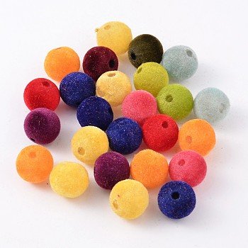 Mixed Color Resin Beads, Flocky Style, Mixed Color, about 14mm in diameter, hole: 3.5mm, 360pcs/500g