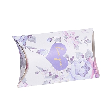 White Paper Pillow Boxes, Gift Candy Packing Box, with Clear Window, Flower Pattern, White, 17.5x10.05x3.85cm