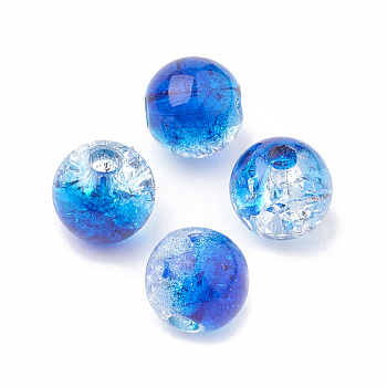 Blue Acrylic Beads, Transparent Crackle Style, Round, Blue, 8x7mm, Hole: 2mm; about 1840pcs/500g