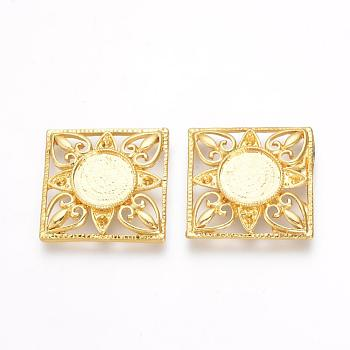Golden Tibetan Style Alloy Cabochon Settings, Square, Golden, Tray: 12mm; Fit for 2mm Rhinestone; 26x26x4mm
