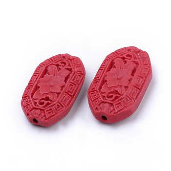 Red Cinnabar Beads, Carved Lacquerware, Mixed Shapes, Red, 15~40x10~30x6~15mm, Hole: 1~3mm; about 42pcs/bag