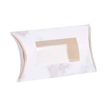 White Paper Pillow Boxes, Gift Candy Packing Box, with Clear Window, Marble Texture Pattern, White, 17.5x10.05x3.85cm