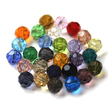 Mixed Color Imitation Austrian Crystal Beads, Grade AAA, Faceted, Round, Mixed Color, 4mm, Hole: 0.7~0.9mm