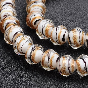 White Handmade Gold Sand Lampwork Rondelle Beads Strands, Faceted, White, 12x9mm, Hole: 1mm; 40pcs/strand, 15.4""