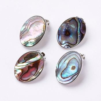 Colorful Natural Abalone Shell/Paua ShellOval Clip-on Earrings, with Brass Findings, Platinum, Colorful, 21x16x11mm