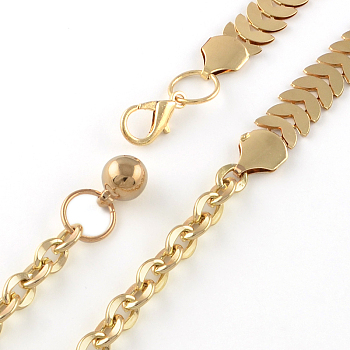 Light Gold Iron Chain Belts with Aluminum End Chains, Light Gold, 31.1 inches(79cm)