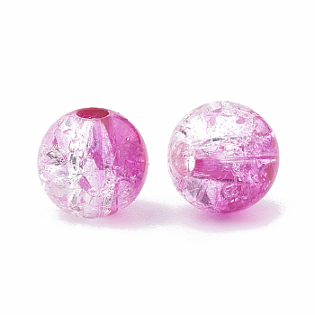 Violet Acrylic Beads, Transparent Crackle Style, Round, Violet, 8x7mm, Hole: 2mm; about 1840pcs/500g