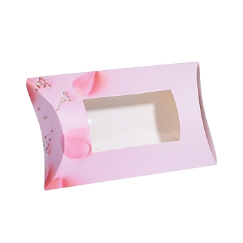Pink Paper Pillow Boxes, Gift Candy Packing Box, with Clear Window, Flower Pattern, Pink, 17.5x10.05x3.85cm