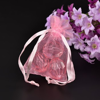 Pink Organza Gift Bags, Pink, 7x5x0.2cm