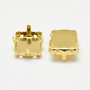 Golden 201 Stainless Steel Rhinestone Claw Settings, Square, Golden, Tray: 13x13mm; 15x15x8mm, Hole: 1mm