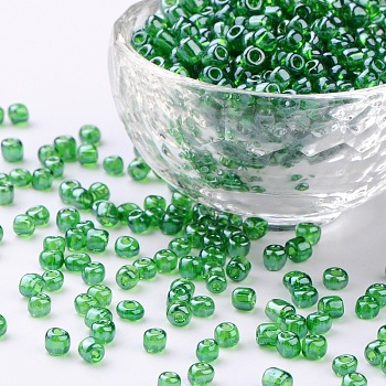 Green Glass Seed Beads, Trans. Colours Lustered, Round, Green, 4mm, Hole: 1.5mm; about 4500pcs/pound