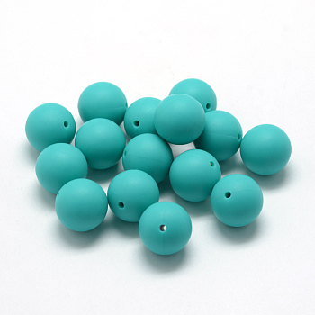 DarkTurquoise Food Grade Environmental Silicone Beads, Chewing Beads For Teethers, DIY Nursing Necklaces Making, Round, DarkTurquoise, 14~15mm, Hole: 2mm