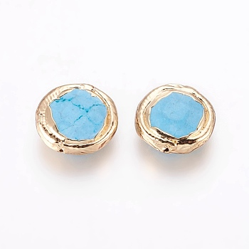 Deep Sky Blue Synthetic Turquoise Beads, Brass Edge Golden Plated, Flat Round, Deep Sky Blue, 12~12.5x4mm, Hole: 0.7mm