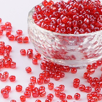 Crimson Glass Seed Beads, Trans. Colours Lustered, Round, Crimson, 4mm, Hole: 1.5mm; about 4500pcs/pound