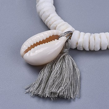 Light Grey Cotton Thread Tassels Charm Bracelets, with Shell Beads and Cowrie Shell Beads, with Burlap Paking Pouches Drawstring Bags, Light Grey, 2 inches(5~5.1cm)