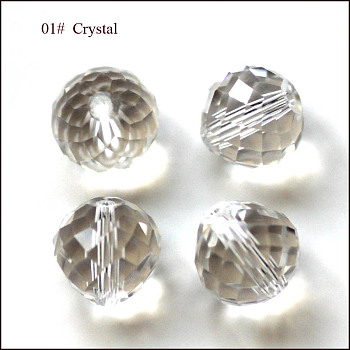 Clear Imitation Austrian Crystal Beads, Grade AAA, Faceted, Teardrop, Clear, 6mm, Hole: 0.7~0.9mm