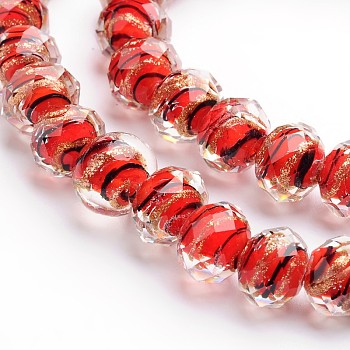 Red Handmade Gold Sand Lampwork Rondelle Beads Strands, Faceted, Red, 12x9mm, Hole: 1mm; 40pcs/strand, 15.4""
