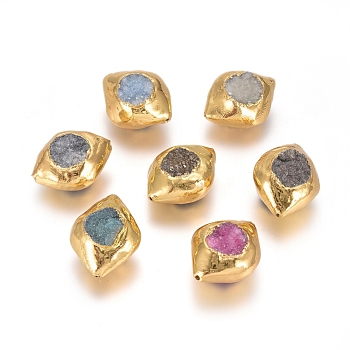 Druzy Agate Synthetic Druzy Agate Beads, Brass Edge Golden Plated, Olive Shape, 26~27x21~22x13~16mm, Hole: 0.8mm
