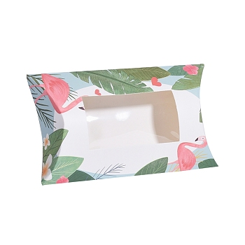 White Paper Pillow Boxes, Gift Candy Packing Box, with Clear Window, Flamingo Pattern, White, 17.5x10.05x3.85cm