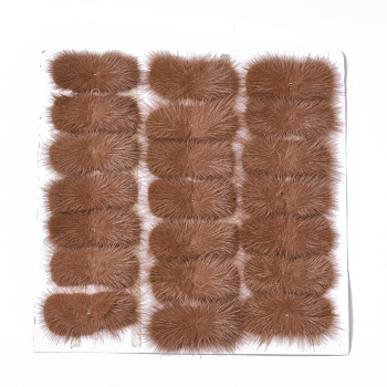 Chocolate Faux Mink Fur Rectangle Decoration, Pom Pom Ball, for DIY Bowknot Hair Accessories Craft, Chocolate, 8~8.5x3.7~4cm; about 21pcs/board