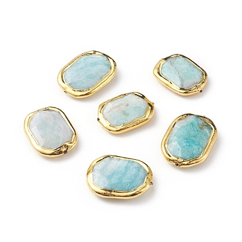 Amazonite Natural Amazonite Beads, with Golden Plated Edge Brass Findings, Faceted, Oval, 28.5~29x19.5~21.5x7~8mm, Hole: 0.8mm