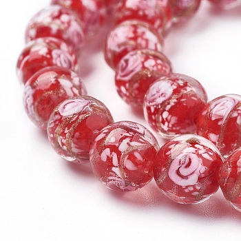 "Red Handmade Gold Sand Lampwork  Beads Strands, Round, Red, 11~12mm, Hole: 1mm, about 33pcs/strand, 14.5""(37cm)"