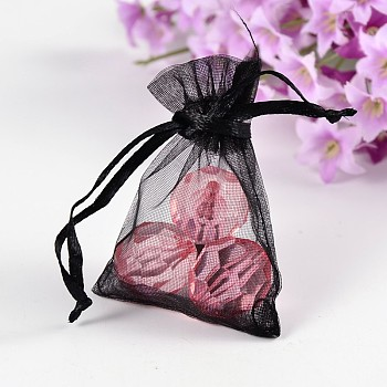 Black Organza Gift Bags, Jewelry Mesh Pouches for Wedding Party Christmas Gifts Candy Bags, Black, 7x5x0.2cm