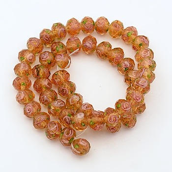 SandyBrown Handmade Gold Sand Lampwork Rondelle Beads Strands, Faceted, SandyBrown, 10x7mm, Hole: 2mm; about 50pcs/strand, 13.77""