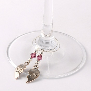 Purple Tibetan Style Heart with Love Wine Glass Charms, with Glass Beads, Iron Beads and Brass Hoop Earrings, For Valentine's Day, Antique Silver, Purple, 63mm; Pin: 0.7mm