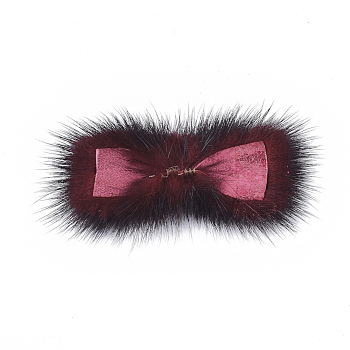 FireBrick Faux Mink Fur Rectangle Decoration, Pom Pom Ball, for DIY Bowknot Hair Accessories Craft, FireBrick, 8~8.5x3.7~4cm; about 21pcs/board