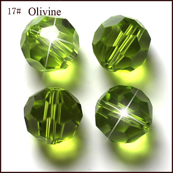 Yellow Green Imitation Austrian Crystal Beads, Grade AAA, Faceted, Round, Yellow Green, 4mm, Hole: 0.7~0.9mm