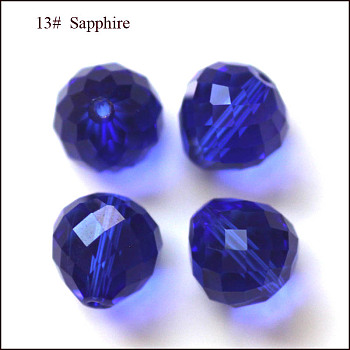 Blue Imitation Austrian Crystal Beads, Grade AAA, Faceted, Teardrop, Blue, 6mm, Hole: 0.7~0.9mm