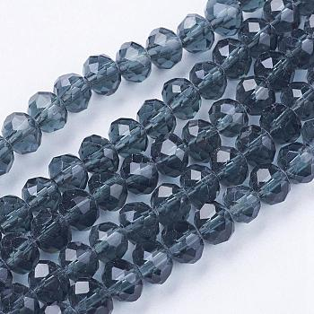 Prussian Blue Handmade Glass Beads, Faceted Rondelle, Prussian Blue, 6x4mm, Hole: 1mm; about 90~93pcs/strand